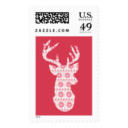 Winter Knit Christmas Reindeer Postage Stamp