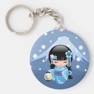 Winter Kokeshi Doll - Blue Kimono Geisha Girl Keychain