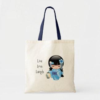 Winter Kokeshi Doll - Blue Kimono Geisha Girl Tote Bag