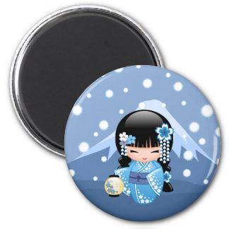 Winter Kokeshi Doll - Blue Mountain Geisha Girl 2 Inch Round Magnet