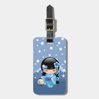 Winter Kokeshi Doll - Blue Mountain Geisha Girl Bag Tag