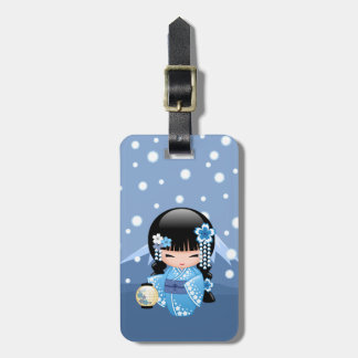 Winter Kokeshi Doll - Blue Mountain Geisha Girl Bag Tag
