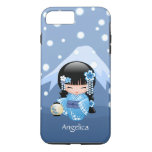 Winter Kokeshi Doll - Blue Mountain Geisha Girl iPhone 7 Plus Case
