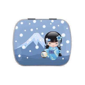 Winter Kokeshi Doll - Blue Mountain Geisha Girl Jelly Belly Candy Tin