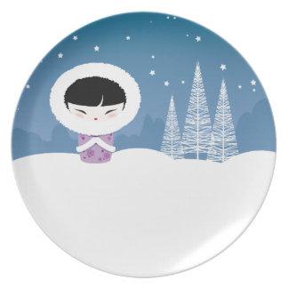 Winter Kokeshi plate