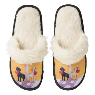 Winter Labradors Painting Pair Of Fuzzy Slippers
