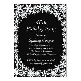 Winter Lace 40th Birthday Party Invitation