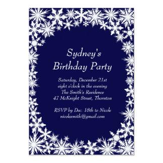 Winter Lace Birthday Party Invitation - blue