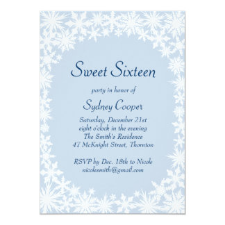 Winter Lace Icy Blue Sweet Sixteen Invitation