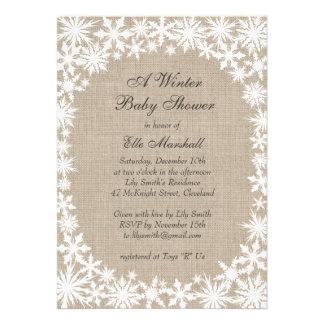 Winter Lace on Burlap Baby Shower Invitation