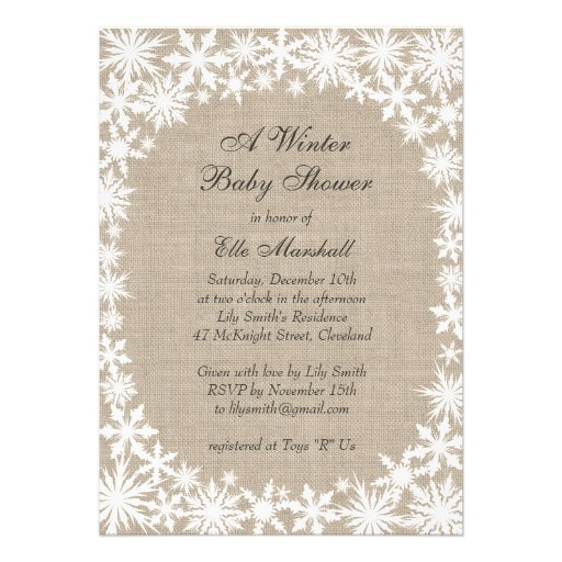 Winter Lace On Burlap Baby Shower Invitation