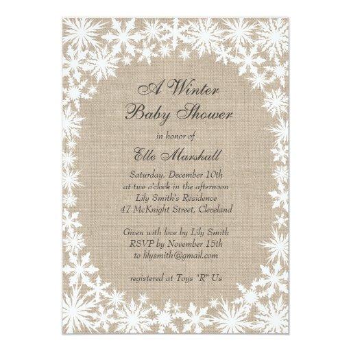 winter lace on burlap baby shower invitation zazzle