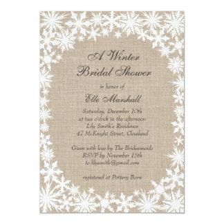 Winter Lace on Burlap Bridal Shower Invitation