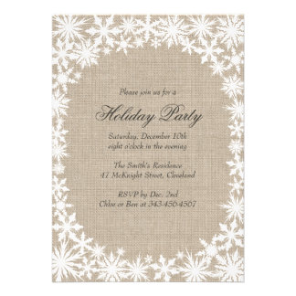 Winter Lace on Burlap Holiday Party Invitation