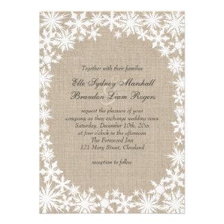 Winter Lace on Burlap Wedding Invitation