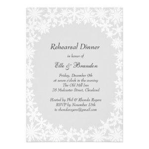 Winter Lace on Gray Rehearsal Dinner Invitation
