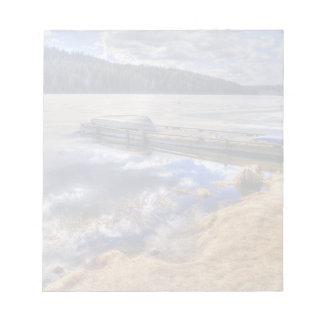 Winter Lake and Kayak Wilderness Landscape Notepad