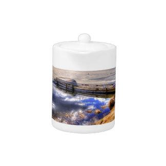 Winter Lake and Kayak Wilderness Landscape Teapot