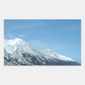 winter lake and mountains rectangular sticker