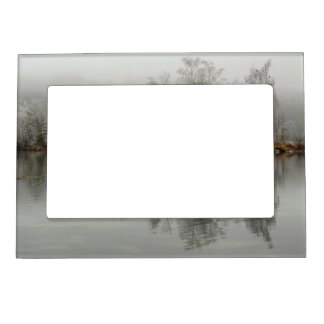Winter Lake and Tree Scene from Austria Magnetic Picture Frame