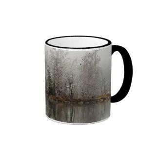 Winter Lake and Tree Scene from Austria Ringer Mug
