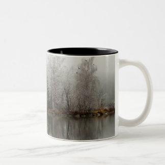 Winter Lake and Tree Scene from Austria Two-Tone Coffee Mug