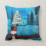 Winter Lake Christmas Folk Decor Throw Pillows