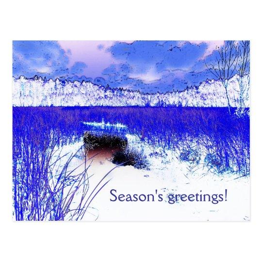 Winter lake season's greetings card
