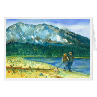 Winter Lake Watercolor Romantic I Love You Card