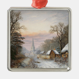 Winter landscape, 1869 metal ornament