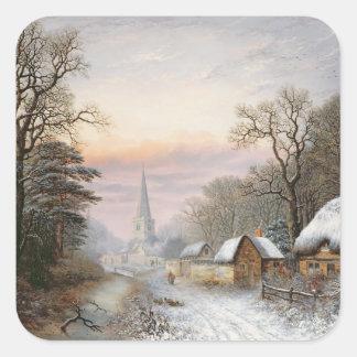 Winter landscape, 1869 square sticker