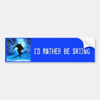 Winter Landscape and Freestyle Skier Car Bumper Sticker