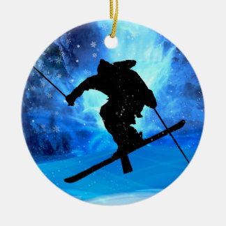 Winter Landscape and Freestyle Skier Ceramic Ornament
