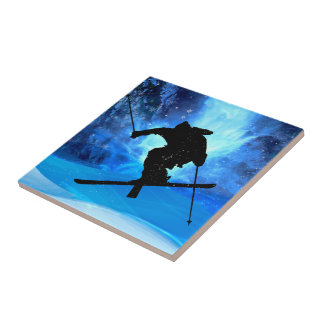Winter Landscape and Freestyle Skier Ceramic Tile