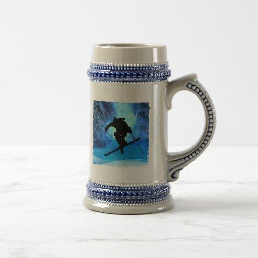 Winter Landscape and Freestyle Skier Mug