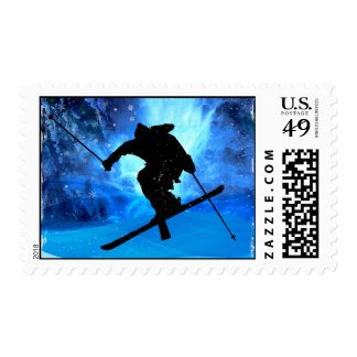 Winter Landscape and Freestyle Skier Postage