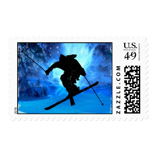 Winter Landscape and Freestyle Skier Postage Stamps