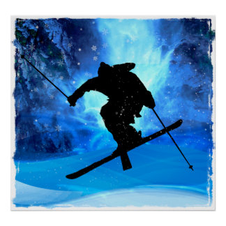 Winter Landscape and Freestyle Skier Print