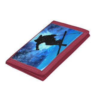 Winter Landscape and Freestyle Skier Tri-fold Wallet