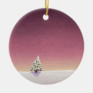 Winter landscape art little tree snow Unspoiled Christmas Tree Ornament
