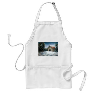 WINTER LANDSCAPE ART WITH BARN ADULT APRON