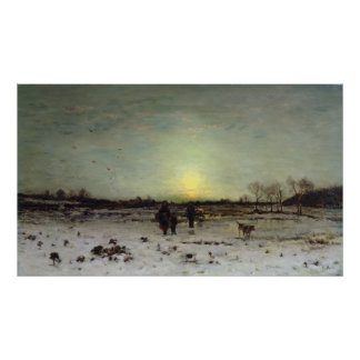Winter Landscape at Sunset Poster