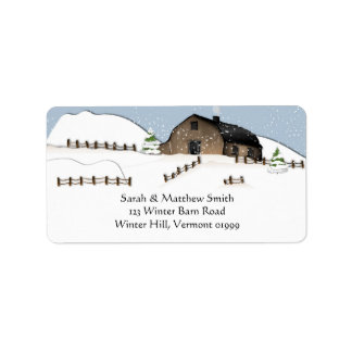 Winter Landscape Barn Address Labels