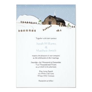 Winter Landscape Barn Wedding Invitations