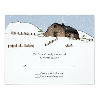 Winter Landscape Barn Wedding RSVP Invitations