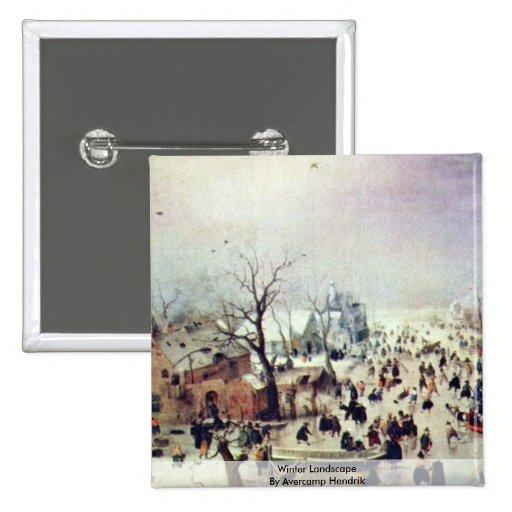 Winter Landscape By Avercamp Hendrik 2 Inch Square Button