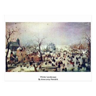 Winter Landscape By Avercamp Hendrik Postcard