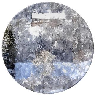 Winter landscape - by Jean Louis Glineur Dinner Plate