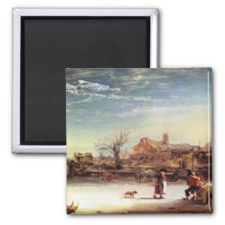 Winter Landscape by Rembrandt Harmenszoon van Rijn Magnets