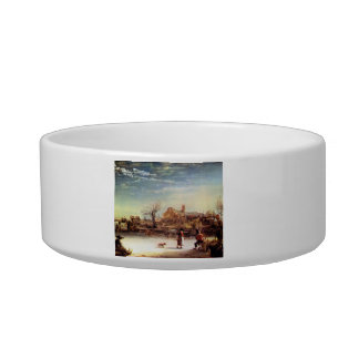 Winter Landscape by Rembrandt Harmenszoon van Rijn Cat Bowls
